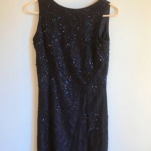 Navy lace and beaded long dress. Size 8 P