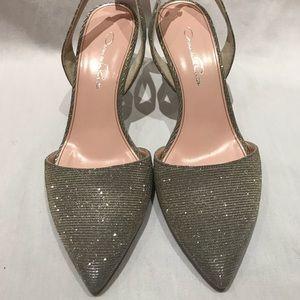 Oscar de la Renta Silver Glitter Shimmer Heels