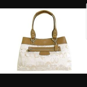 Coach Signature Cream Beige Tan Satchel