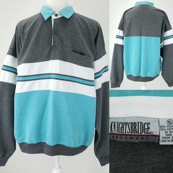 a9ee8108 Knightsbridge Menswear Other - 80s Teal Gray White Colorblock Stripes Shirt  XL