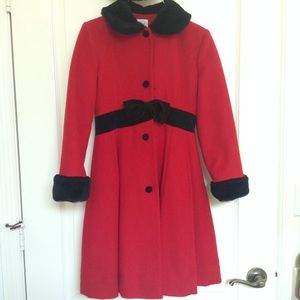 Talbots Girls' Red & Black Winter Coat and Hat