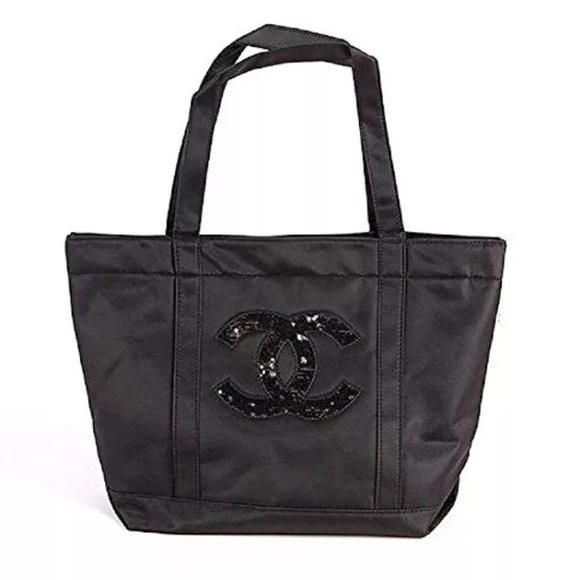 e2558f16110cea CHANEL Bags   Vip Gift Black Sequined Logo Tote Bag   Poshmark