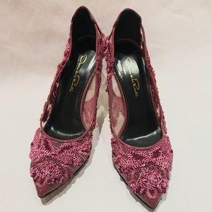 Oscar de la Renta Alyssa Pink Embellished Heels