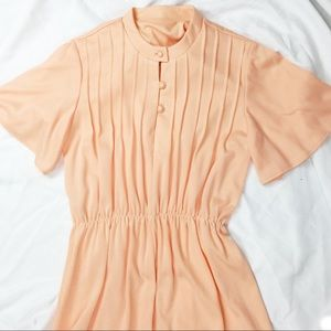 Vintage Orange Short Sleeve Summer Dress