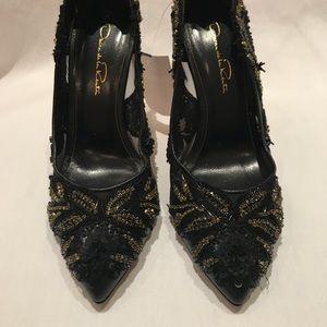 Oscar de la Renta Alyssa Black Embellished Heels