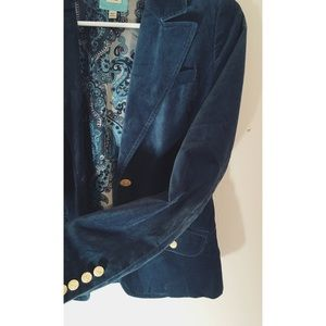 Soft velvet dark blue blazer