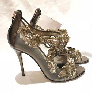 Oscar de la Renta Ambria Mesh Embellished Heels