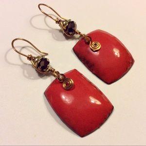 Jewelry - Artisan Handmade Red Orange Enamel Dangle Earrings