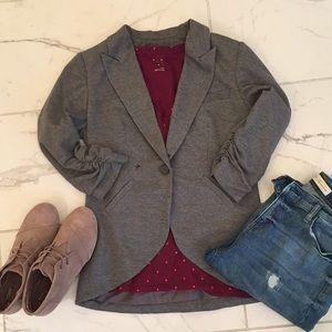 Gray cotton 3/4 sleeve blazer