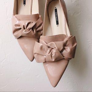 {zara} blush pink bow flats