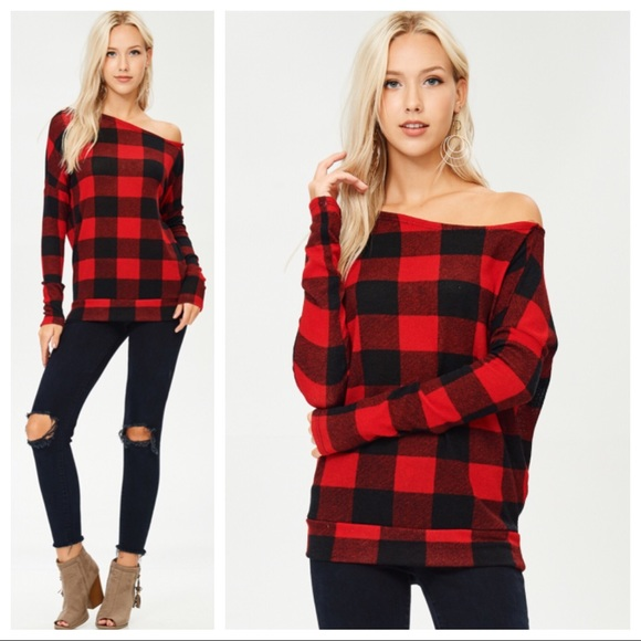 bbe5966c8bc4f2 Red Black Buffalo Plaid One Shoulder Sweater