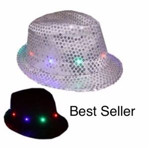 accessories christmas hat led fedora hat light up white party