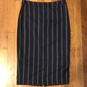 NWOT Navy Blue Pin Striped Stretchy Pencil Skirt