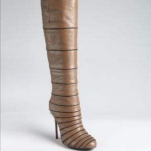Taupe Leather & Suede 'barrett' Tiered Knee-High