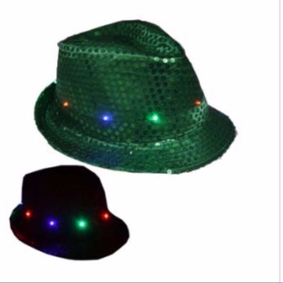 christmas hat led fedora hat light up green party