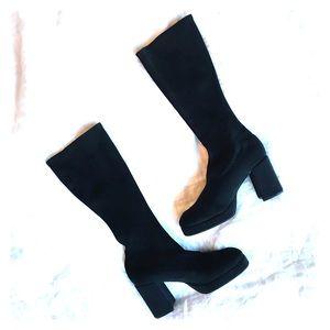 [VINTAGE] block heel black stretch platform boots
