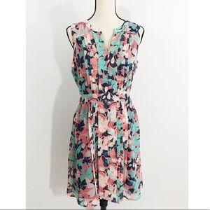 Halogen Floral Print Pleated Dress [E5]