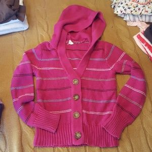 Girls button up hooded sweater