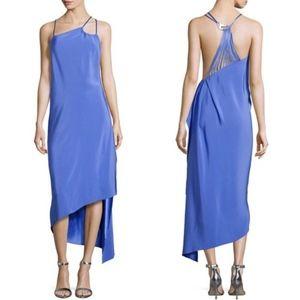 Halston Heritage Asymmetrical Strappy Dress Blue