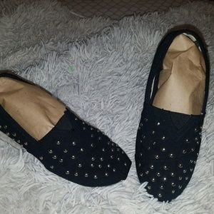 Shoes - Women black studded Canvas Slip ons