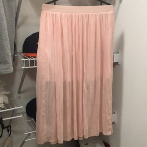 Pink Pleated Everly Maxi Skirt
