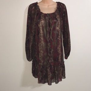 💋 Lovely peasant style burgundy tunic dress