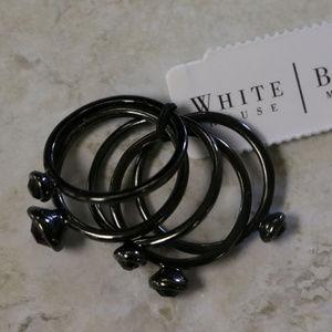 NWT Sz8 Dark silver / gun metal set 5 rings WHBMR7