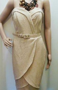 EVA FRANCO 12 GOLD METALLIC STRAPLESS WRAP DRESS