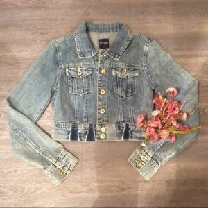 🍂 Cropped Jean denim jacket cute trendy modcloth