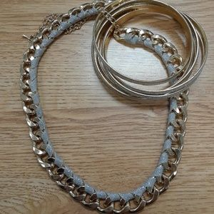 Jewelry - Gold Necklace and Bangles Set