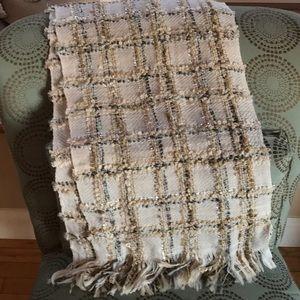 Ann Taylor Loft cream plaid and sparkle scarf