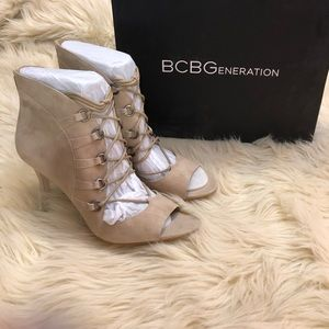 BCBGENERATION Grommet Detail Lace Up Suede Heels