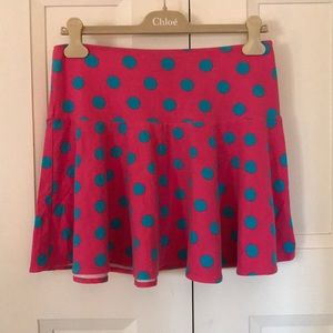 Betsey Johnson hot pink & aqua polka dot skirt s
