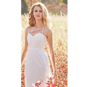 Hayley Paige white crossed diamond gown
