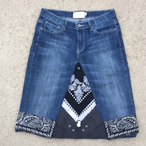 5b53fa8a4 paparrazi Skirts | Upcycled Denim Embroidered Blue Black ...