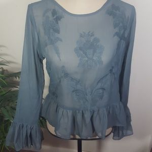 Walter Baker Peplum Sheer Embroidered Top NWT!!