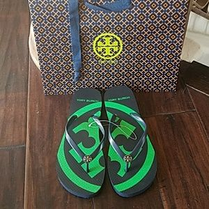 NEW Tory Burch Emory flip flop Green shoes size 7