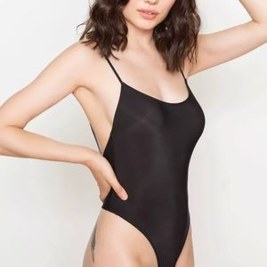 Only Hearts Second Skin Black Thong Bodysuit