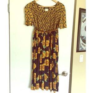 Vintage Sunflower Midi Dress