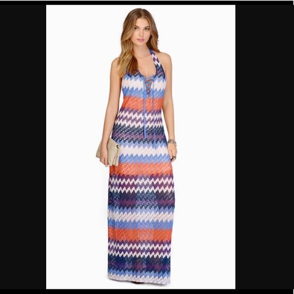 832dcafa72bb0 Tobi Dresses | Chevron Lined Crochet Maxi Beach Bum Dress | Poshmark