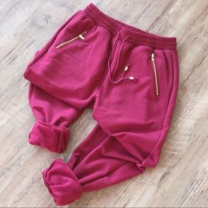 Pants - LAST PAIR♻️CLEARANCE! Burgundy fleece lined jogger
