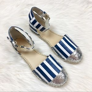 Kate Spade striped glitter espadrilles sandals