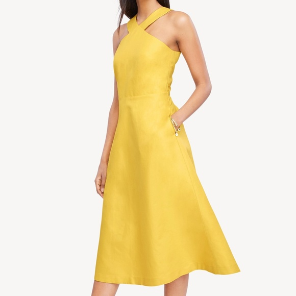 Ann Taylor Dresses & Skirts - NWT Ann Taylor yellow halter midi dress