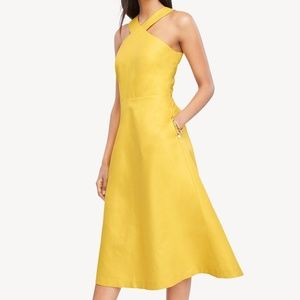 NWT Ann Taylor yellow halter midi dress