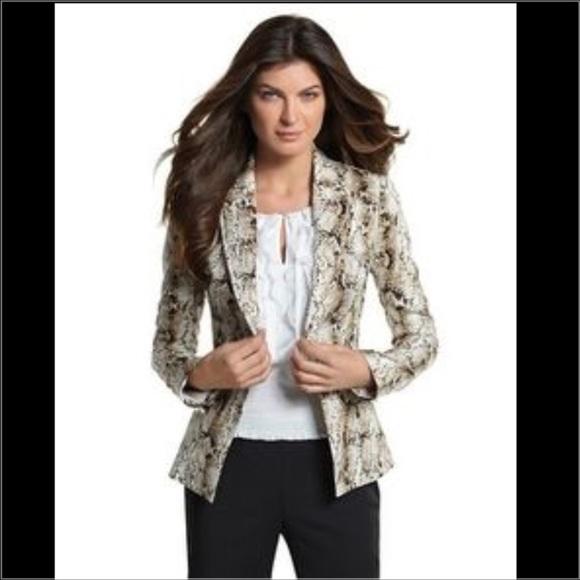 a95c36ee2d1 White House Black Market Jackets & Coats | Sale Whbm Tan Snake Print ...
