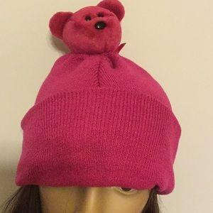 Deja Vu Designs Accessories - Magenta Beanie with a Teddy Bear Pom Pom  Topper 865b81e0a7b0