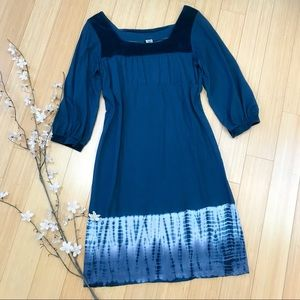 PRANA teal and velvet trim dress, M.