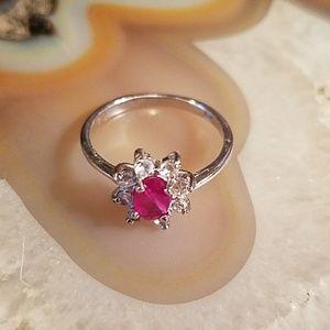 Jewelry - 14k wgp/silver ruby & white topaz ring size 7
