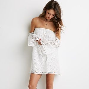 ✨White Off-the-Shoulder Floral Lace Dress✨