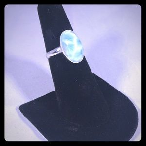 925 Sterling Silver with Larimar Solitaire Ring